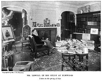 Elmwood (Cambridge, Massachusetts) - James Russell Lowell at Elmwood (from Edward Everett Hale's biography of Lowell, published 1891)