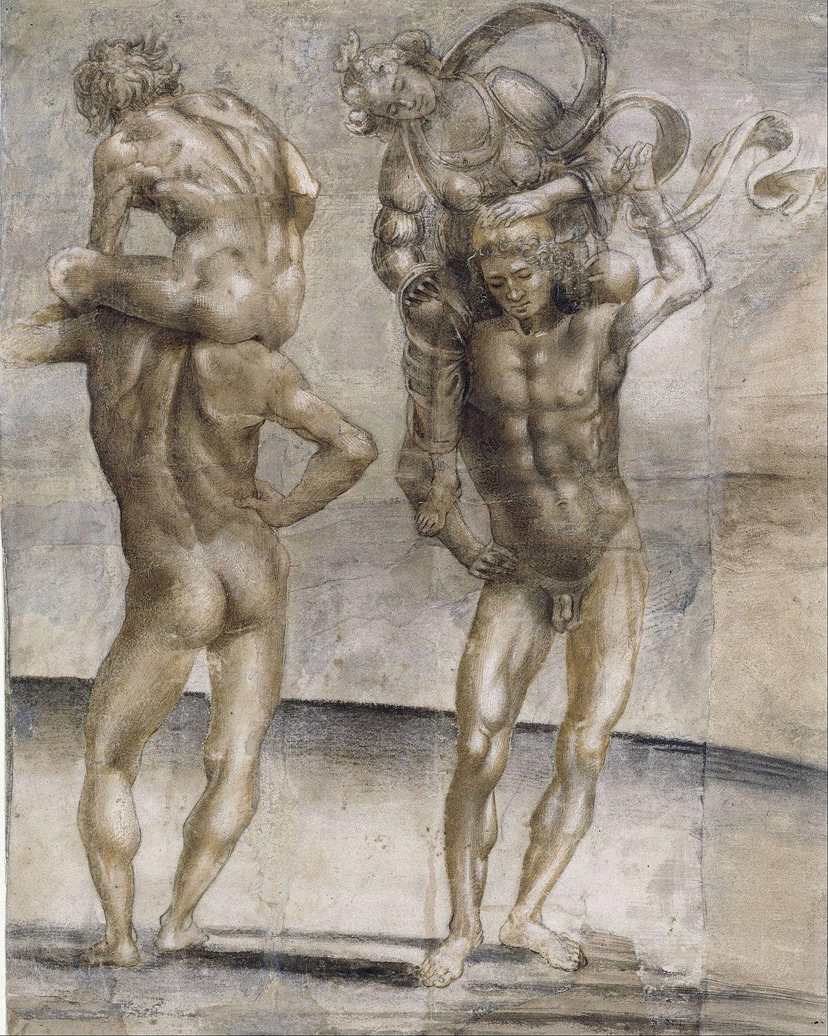 naked man and woman smoking painting