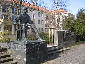 Ludwigsfelde - Heinrich-Heine-Monument, created by the sculptor Waldemar Grzimek, unveiled in 1956 (poets quarter/Dichterviertel)