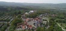 Aerial view of the Hessenpark with the Große Feldberg in the background