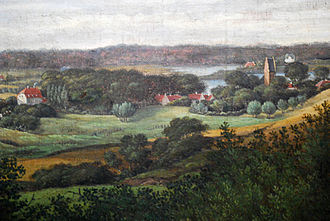 Kongens Lyngby - Kongens Lyngby in c. 1820 with the White Mansion visible on the left