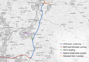 M11 motorway - A map showing the 2009 proposal for widening of the M11 and surrounding road proposals