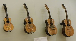 Howe-Orme - From the left are a Howe-Orme mandolin, tenor mandolin, octave mandolin and cello mandola.