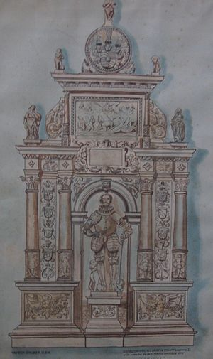 Philipp Ludwig I, Count of Hanau-Münzenberg - Drawing by Karl Gruber of the grave monument of Count Philipp Ludwig I of Hanau-Münzenberg, that was destroyed during World War II