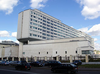Bauman Moscow State Technical University - Educational and Laboratory Building of the BMSTU and the monument to Sergei Korolev