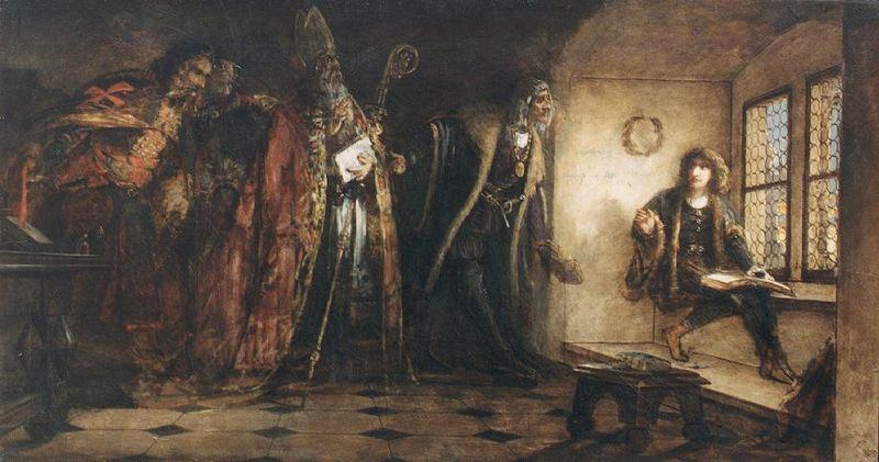 Archivo:Madarász, Viktor - Czech King Podjebrad Introduces Matthias the Hungarian Delegates (1873).jpg
