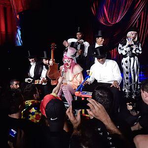 "Madonna: Tears of a Clown - Madonna playing the ukulele while performing ""Holiday"", the show's final song."