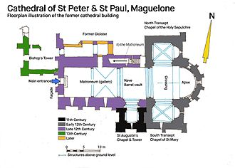 Maguelone Cathedral - Floorplan illustration of the cathedral building