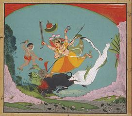 The Great Goddess Durga Slaying the Buffalo Demon