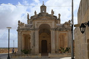 Michele Cachia - Portico of the Church of Our Lady of Divine Providence in Siġġiewi, which was designed by Cachia in 1815