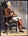 Man i historisk dräkt som sitter i en stol. Akvarell av Fritz von Dardel - Nordiska museet - NMA.0037686.jpg