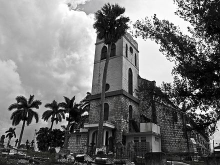 Mandeville Church (est. 1816), an Anglican church in Manchester Parish; Christianity is the largest religion in Jamaica Mandeville Church by AAlexander.jpg
