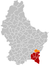 Map of Luxembourg with Lenningen highlighted in orange, and the canton in dark red