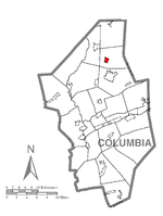 Map showing Benton in Columbia County