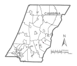 Map of Cassandra, Cambria County, Pennsylvania Highlighted.png