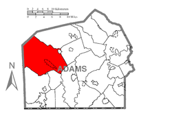 Map of Adams County, Pennsylvania highlighting Franklin Township