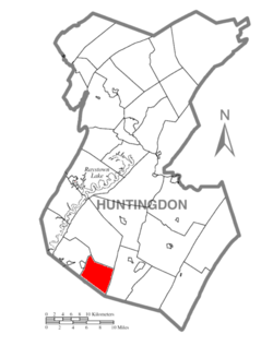 Map of Huntingdon County, Pennsylvania Highlighting Wood Township