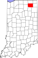 Map of Indiana highlighting Noble County.svg