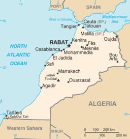 Marokkokort med Agadir har markeret.
