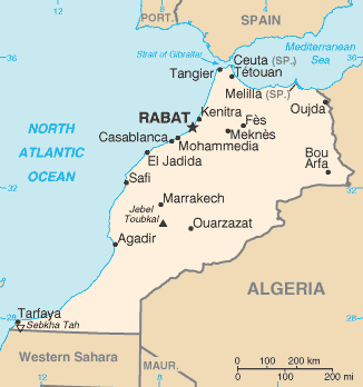 Map of Morocco from CIA World Factbook