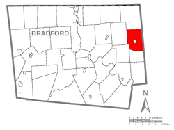 Map of Bradford County with Pike Township highlighted
