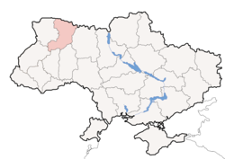 Location o Rivne Oblast (red) athin Ukraine (blue)