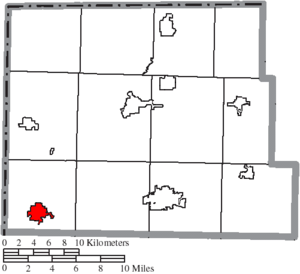 Edgerton, Ohio - Image: Map of Williams County Ohio Highlighting Edgerton Village