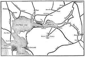 Benicia, California - Railroad connections to Benicia in 1885