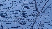 Mappa risalente ai primi del settecento con indicati i principali insediamenti abitati del territorio della Martesana, si può osservare il comune di Bashiani e la località di Monastero