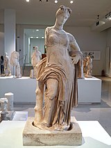 Marble cult statue of Aphrodite Hypolympidia, from the santuary of Isis, 2nd c. BC, Archaeological Museum, Dion (7079958443).jpg