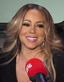 Mariah Carey being interviewed in 2018 at WBLS Radio in New York City