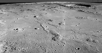 Marius (crater) - Oblique view of eastern Marius Hills with Marius Crater in upper right by Lunar Orbiter 2