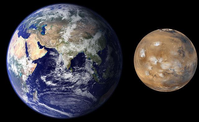 Erde-Mars Größenvergleich