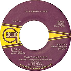 Обложка сингла Mary Jane Girls «All Night Long» (1983)
