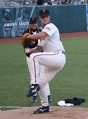 Matt Cain - Cain warming up before his MLB debut in 2005
