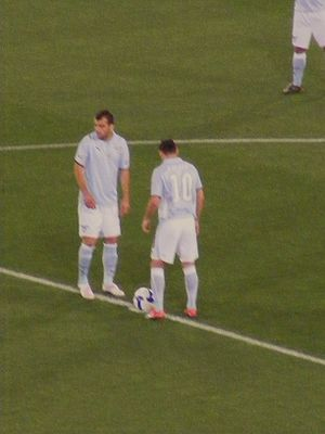 Mauro Zárate - Zárate kicking off the 2009 Coppa Italia Final with Goran Pandev