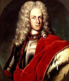 Painting of a man in a shoulder-length curly wig. He wears studio armor and an ermine cloak over his left arm.