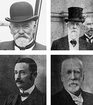 Mayor of Thames - Clockwise from top left: James McGowan (10th), Colonel William Fraser (7th), William McCullough (4th), and Henry Greenslade (15th)