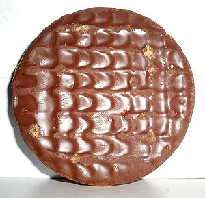 Digestive biscuit - The coated side of a milk chocolate digestive biscuit