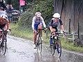 Medal winners - breakaway trio in a downpour, Lizzie Armitstead, Marianne Vos, Olga Zabalinskaya Olympic womens road race. (7669908684).jpg