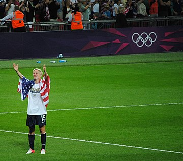 Rapinoe after the gold medal match at 2012 Summer Olympics; August 9, 2012 Megan Rapinoe at the 2012 Summer Olympics final.jpg