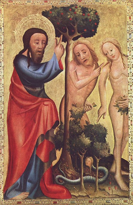 God in the person of the Son confronts Adam and Eve, by Master Bertram (d. c.1415) Meister Bertram von Minden 009.jpg