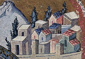 Nazareth - Nazareth as depicted on a Byzantine mosaic (Chora Church, Constantinople)