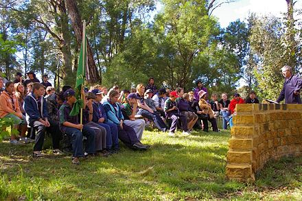 "Australian Scouts attend Scouts' Own, an informal, spiritual Scouting ceremony Members of Scouts Australia from several groups attending ""Scouts Own"" in camp.jpg"