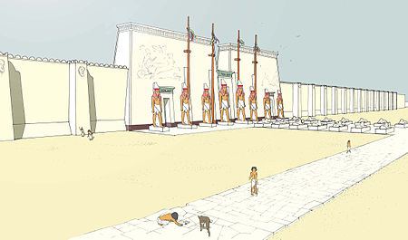 Artist's depiction of the western forecourt of the Great Temple of Ptah at Memphis Memphis-temple-Ptah.jpg
