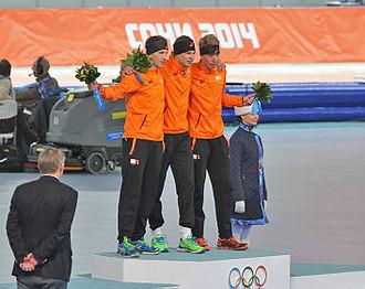 Speed skating at the 2014 Winter Olympics – Men's 5000 metres - Image: Men's 5000m, 2014 Winter Olympics, Podium