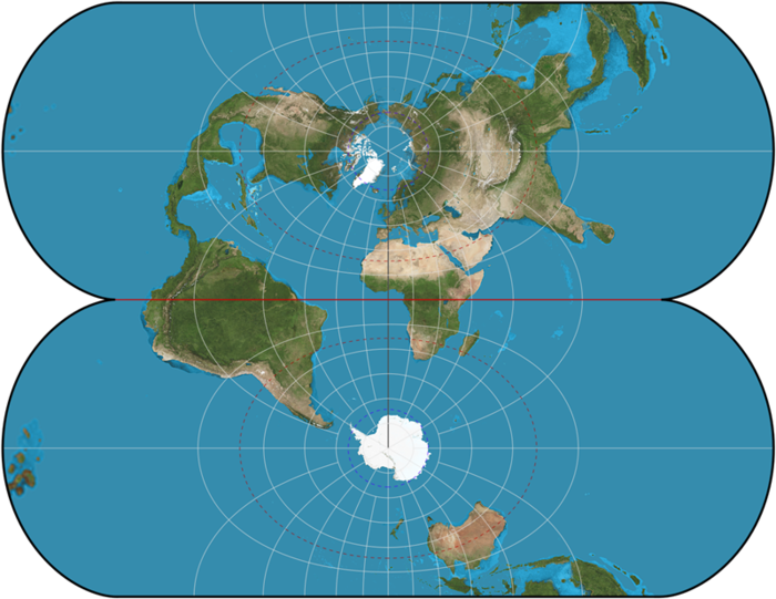 Ellipsoidal transverse Mercator: a finite projection. MercTranEll.png