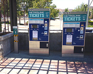 Metrolink (California) - Metrolink ticket vending machines. Machines also sell tickets for Amtrak trains and the FlyAway Bus to LAX.