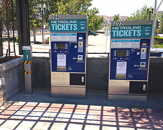 Metrolink (California) - Metrolink ticket vending machines. Machines also sell tickets for Amtrak trains and the FlyAway Bus to Los Angeles International Airport.