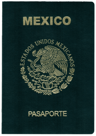 Mexican passport - The front cover of a Mexican passport with the coat of arms of Mexico.